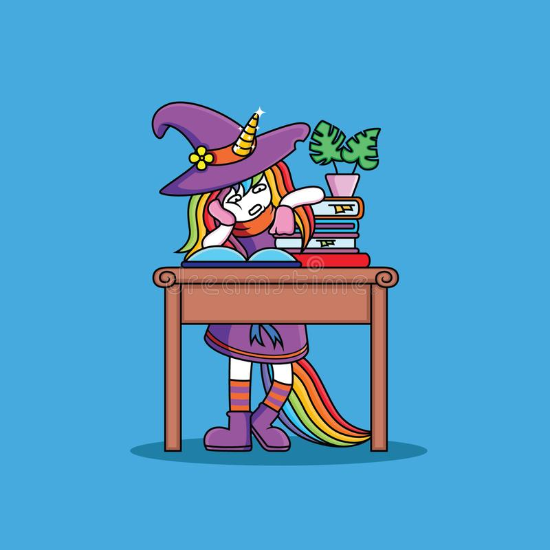 Witches Unicorn are studying. Cute, vector, pink, cartoon, sweet, fairy, tale, drawing, girl, rainbow, illustration, comic, fable, drawn, illustrated, fantasy royalty free illustration