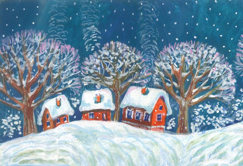 Winter landscape. Housesand trees in the snow. Illustration. Houses and trees on a hill in winter in the snowfall. For different design.Freehand drawing vector illustration