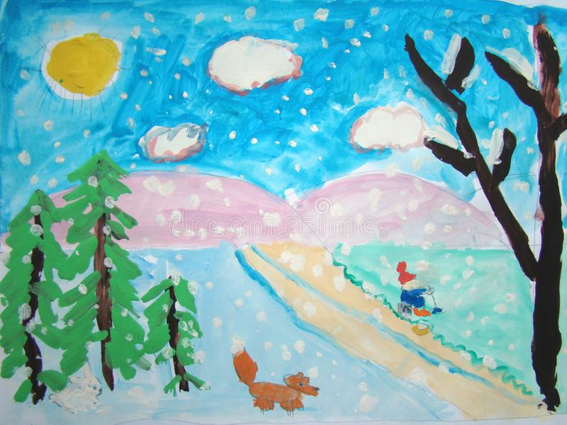 Witer landscape with kid and fox vector illustration