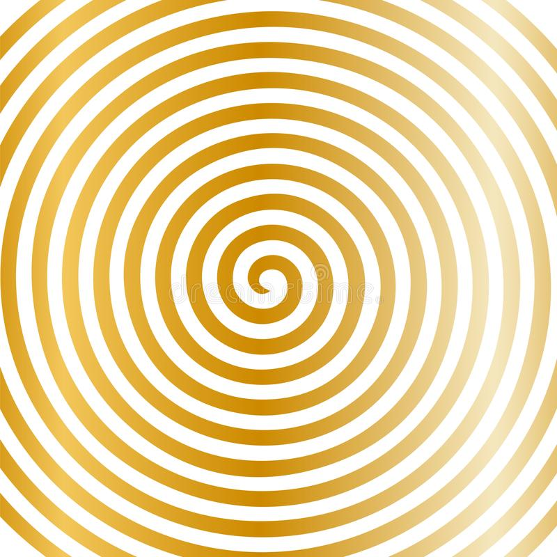Witgoud om abstract draaikolk hypnotic spiraalvormig behang stock illustratie