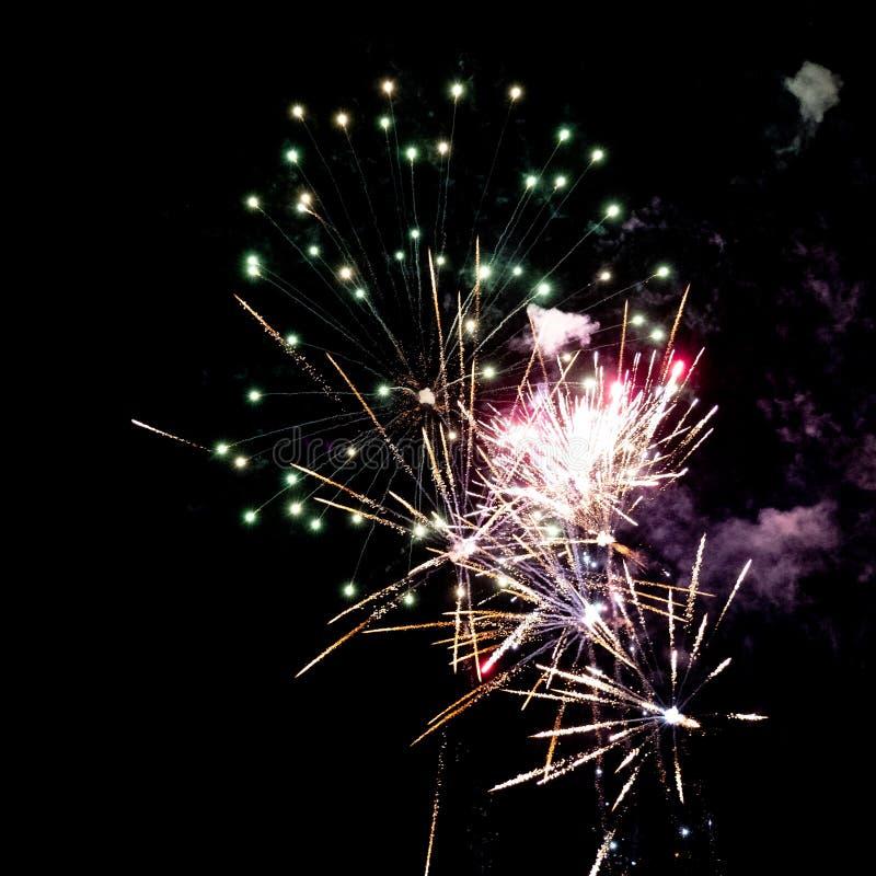 Witgoud roze en groen pyrotechnic vuurwerk in de nacht stock afbeelding