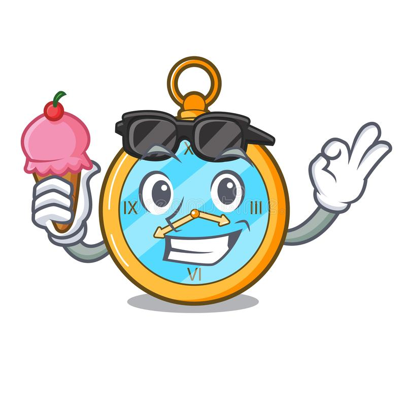 Free With Ice Cream Classic Watch Isolated On A Mascot Royalty Free Stock Images - 132110889