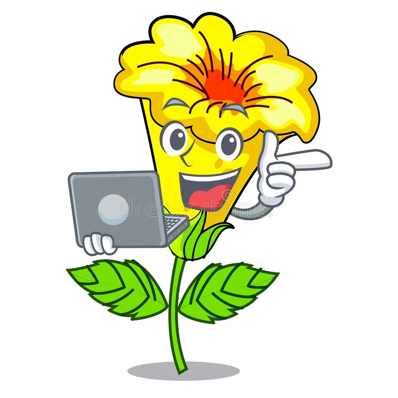 Free With Laptop Allamanda Flower In The Shape Cartoon Stock Images - 143101154