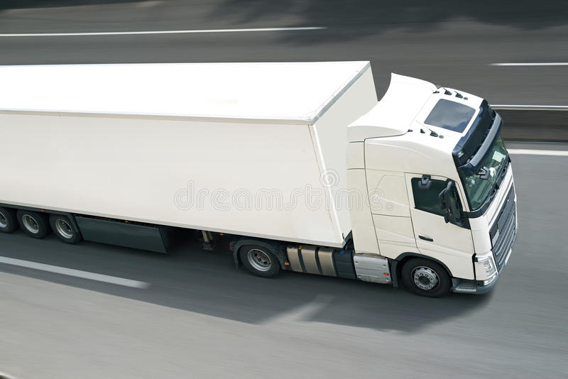 Withe semi truck royalty free stock photography