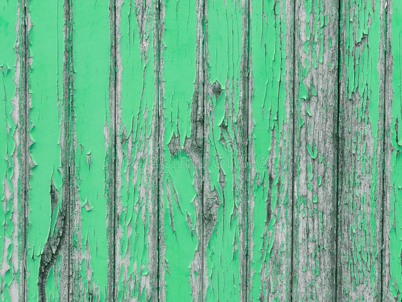 Withered wooden wall with green peeling paint. Withered and weathered wooden wall with green peeling paint stock images