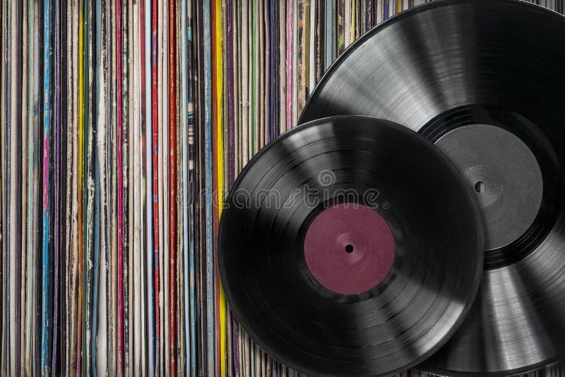 Withf för vinylrekord en samling av album royaltyfri foto
