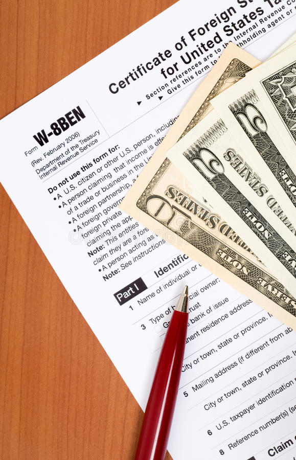 Withholding tax. Tax form for Non-US-citizans for avoid US withholding-tax stock photos