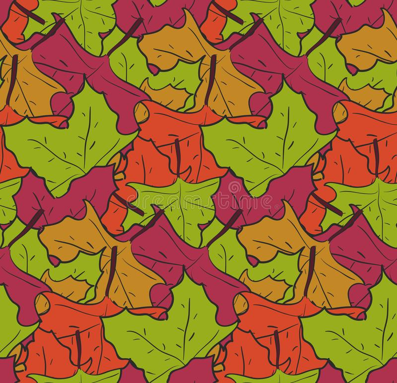 Withmess mignons de modèle des feuilles en baisse d'érable illustration libre de droits