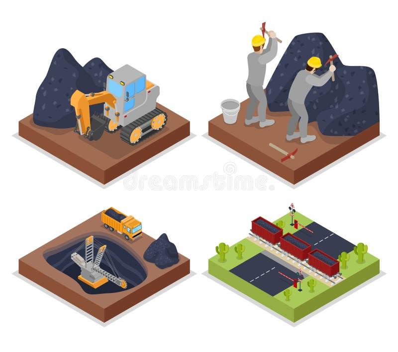 WithPeople isometrico di industria carboniera che lavora in miniera ed escavatore illustrazione di stock