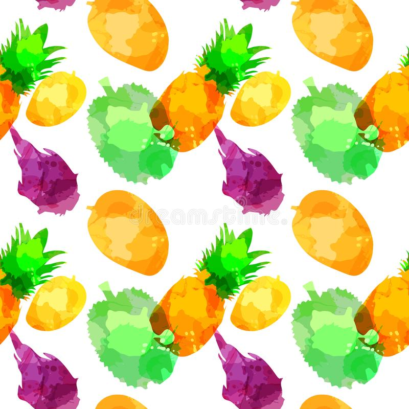 Withpineapple sans couture de modèle, mangue, fruit draconien, durian avec des taches et taches sur un fond blanc Art d'aquarelle illustration stock