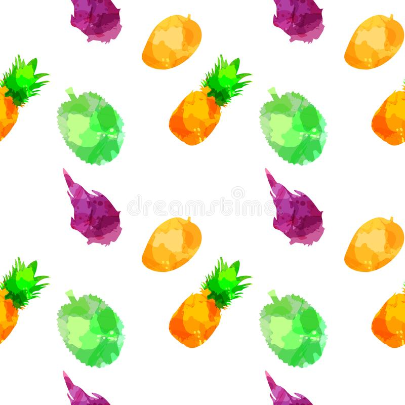 Withpineapple sans couture de modèle, mangue, fruit draconien, durian avec des taches et taches sur un fond blanc Art d'aquarelle photo stock