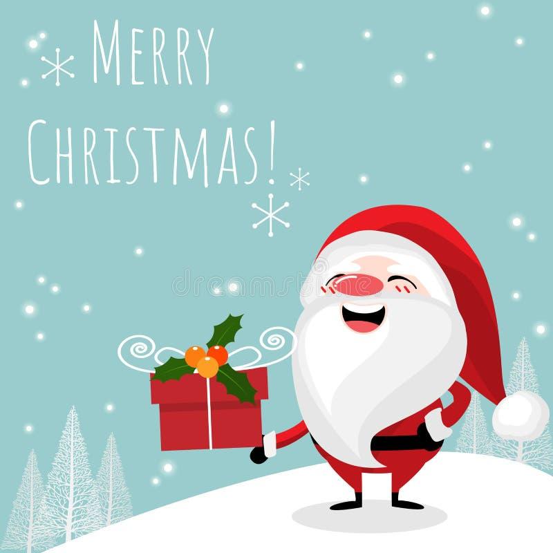 WithSanta Клаус предпосылки курортного сезона рождества с подарочной коробкой и текстом веселого рождества бесплатная иллюстрация