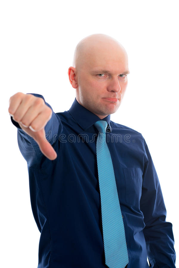 Withthumb do homem de negócios para baixo fotografia de stock