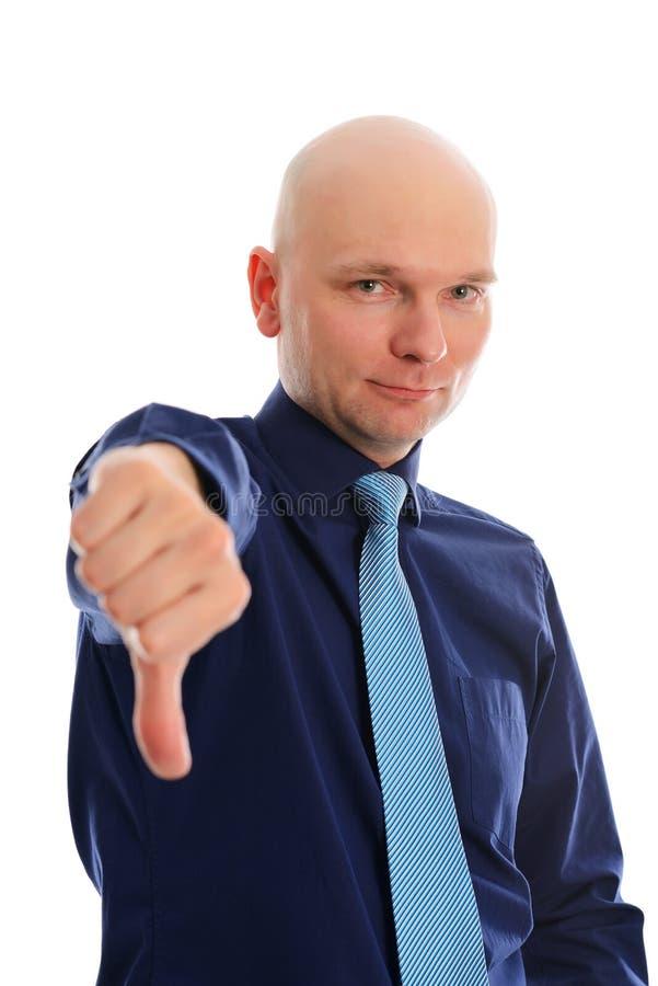 Withthumb do homem de negócios para baixo imagem de stock