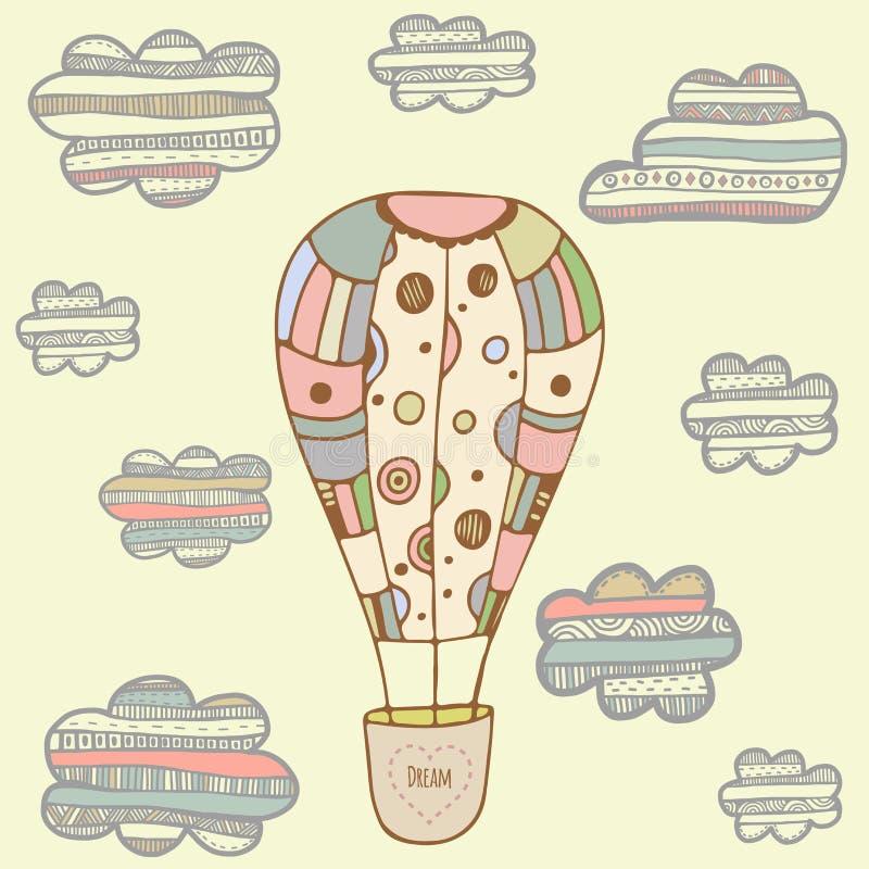 Witn поздравительной открытки baloon воздуха Catoon нарисованное рукой иллюстрация штока