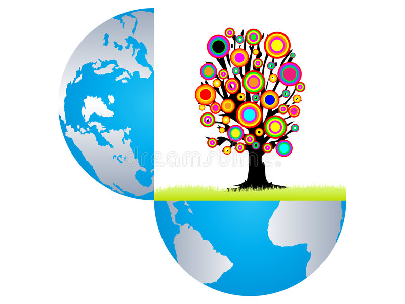 witn för tree för färgrik jordinsida öppen royaltyfri illustrationer
