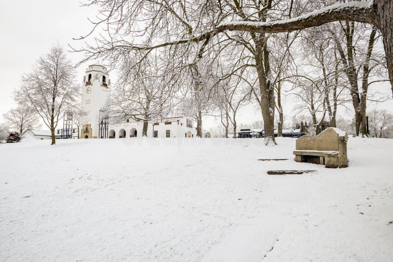 Witner公园在有白色集中处的博伊西爱达荷 免版税库存图片