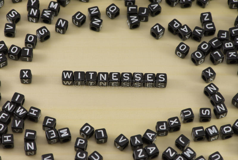 The witness. The concept of the word witness stock photo