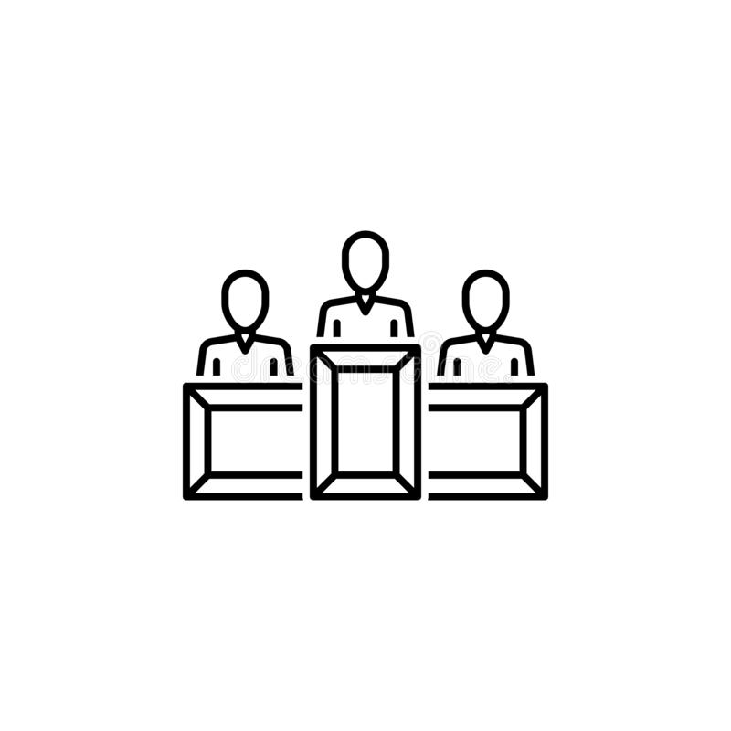 Witness icon. Element of legal services thin line icon stock illustration