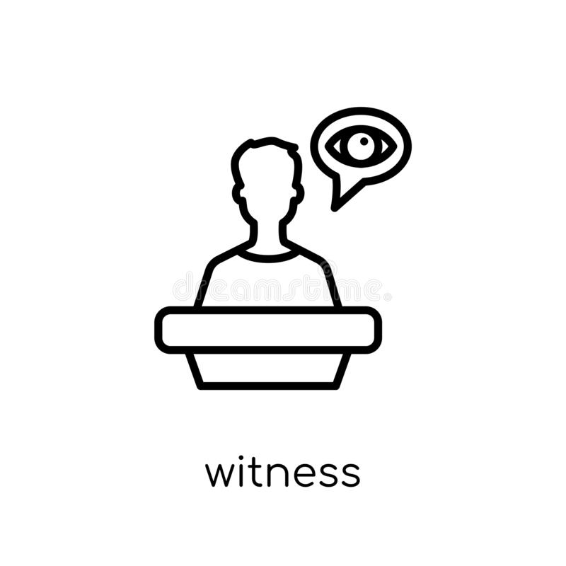 Witness icon. Trendy modern flat linear vector Witness icon on w royalty free illustration