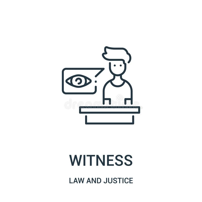 witness icon vector from law and justice collection. Thin line witness outline icon vector illustration. Linear symbol for use on royalty free illustration