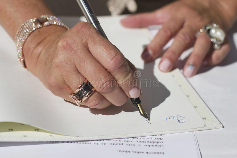 Witness. An image of a witness signing in a wedding royalty free stock images