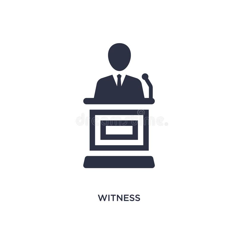 witness icon on white background. Simple element illustration from law and justice concept vector illustration