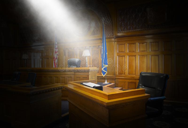 Witness Stand, Law, Court Room, Courtroom. Witness stand in a court of law. The courtroom is where a lawyer will argue a case or a criminal goes up against stock photo
