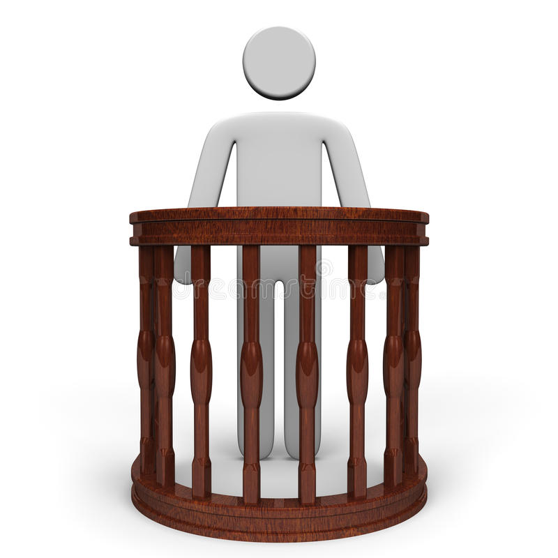 Witness Stand And Person Front View Stock Illustration