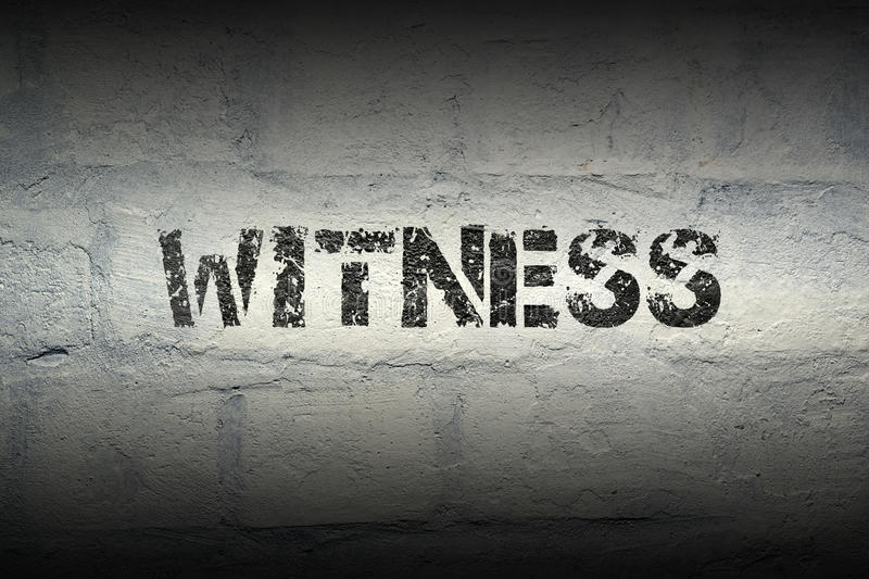 Witness word gr. Witness stencil print on the grunge white brick wall stock images