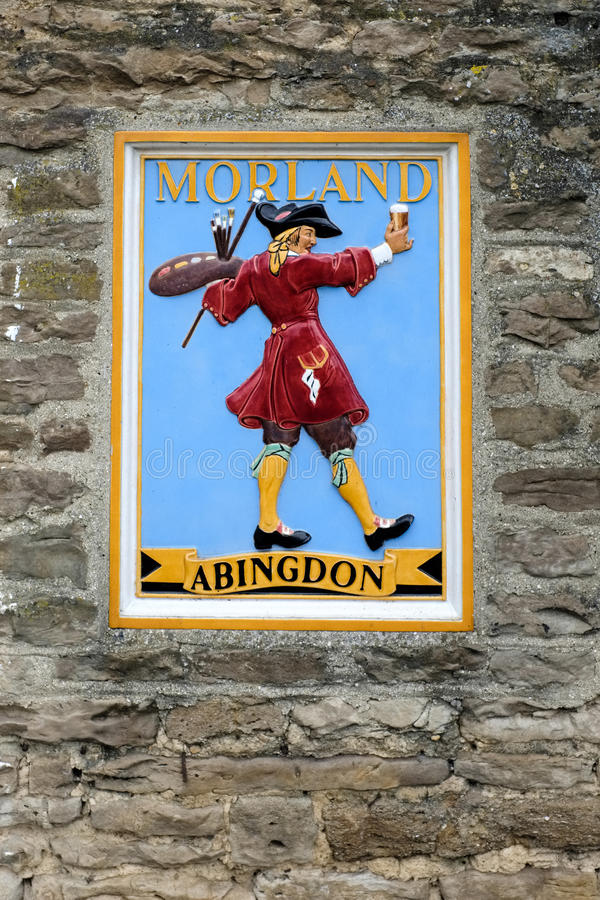 WITNEY, OXFORDSHIRE/UK - 23 MARZO: Morland Brewery Plaque Showi fotografia stock