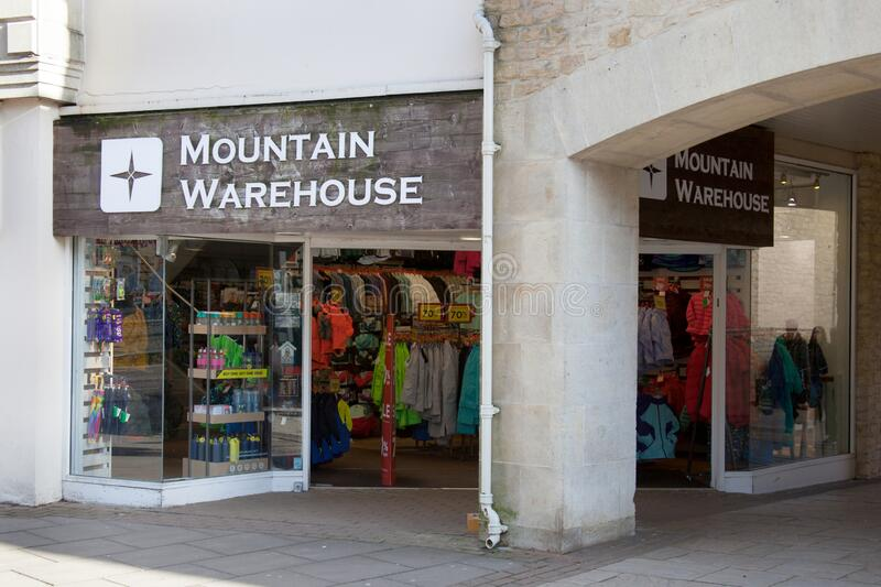 The retail outlet Mountain Warehouse, in Witney, UK. Witney, Oxfordshire, UK 02 28 2020 The retail outlet The Mountain Warehouse in Witney, UK stock photography
