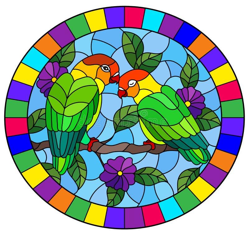 Witraż ilustracja z parą ptak papug lovebirds na gałęziastym drzewie z purpurami kwitnie przeciw niebu, owalny wizerunek ilustracji