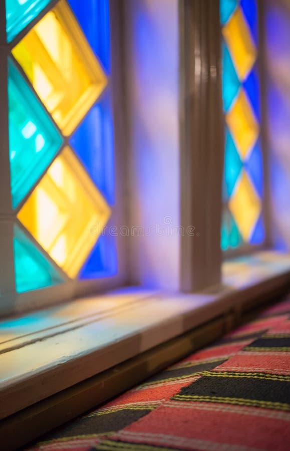 Witrażu okno Interrior czerep kolorowe tła abstrakcyjne zdjęcie stock