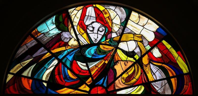 Witraż - Apparition maryja dziewica w Fatima obrazy stock