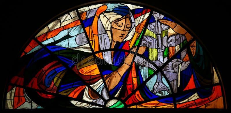 Witraż - Apparition maryja dziewica w Fatima zdjęcia royalty free