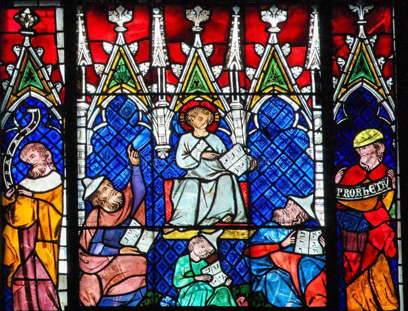 Witraż - Chrystus wśród lekarek zdjęcie stock