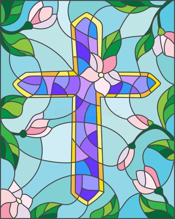Witraż ilustracja na religijnym temacie krzyż na tła niebie i kwiaty, ilustracji