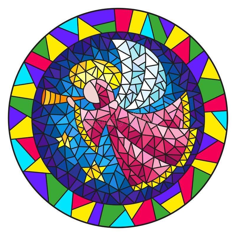 Witraż ilustracja z abstrakcjonistycznym aniołem w różowej kontuszu dmuchania drymbie, round obrazek rama w jaskrawym ilustracji