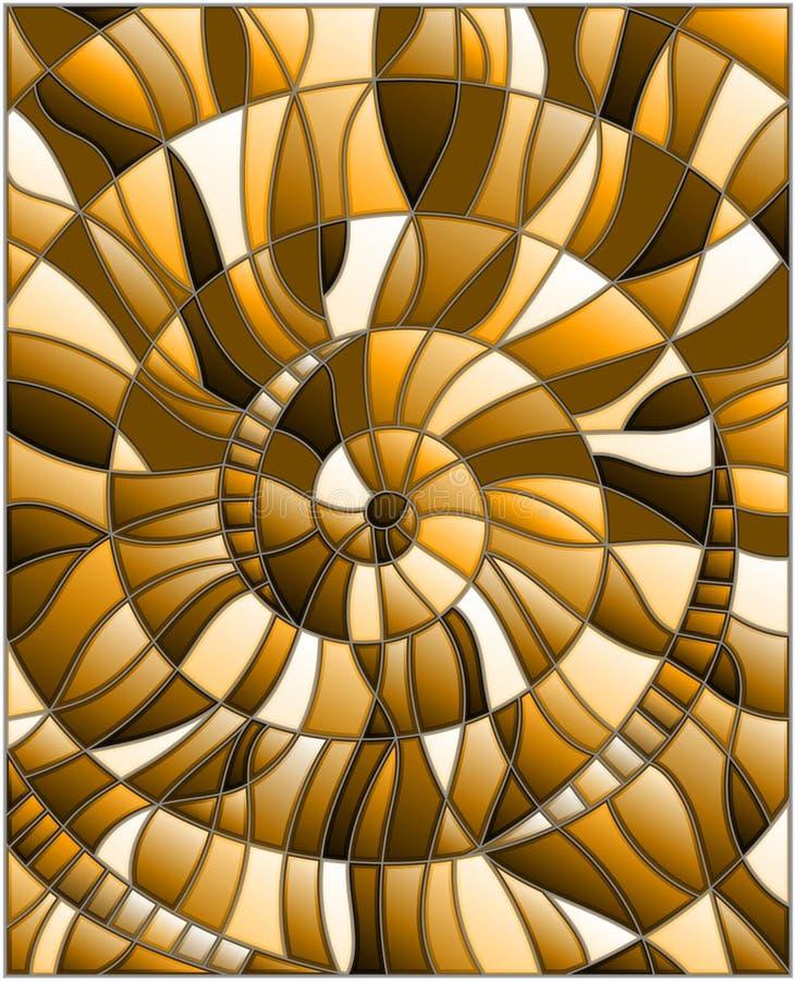 Witraż ilustracja z abstrakcjonistycznym mozaika wizerunkiem, płytki układał w spirali, brązu brzmienie, sepiowy ilustracja wektor