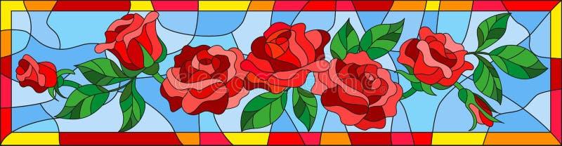 Witraż ilustracja z abstrakcjonistycznymi czerwonymi różami i liśćmi na błękitnym tle w jaskrawej ramie, horyzontalna orientacja ilustracji