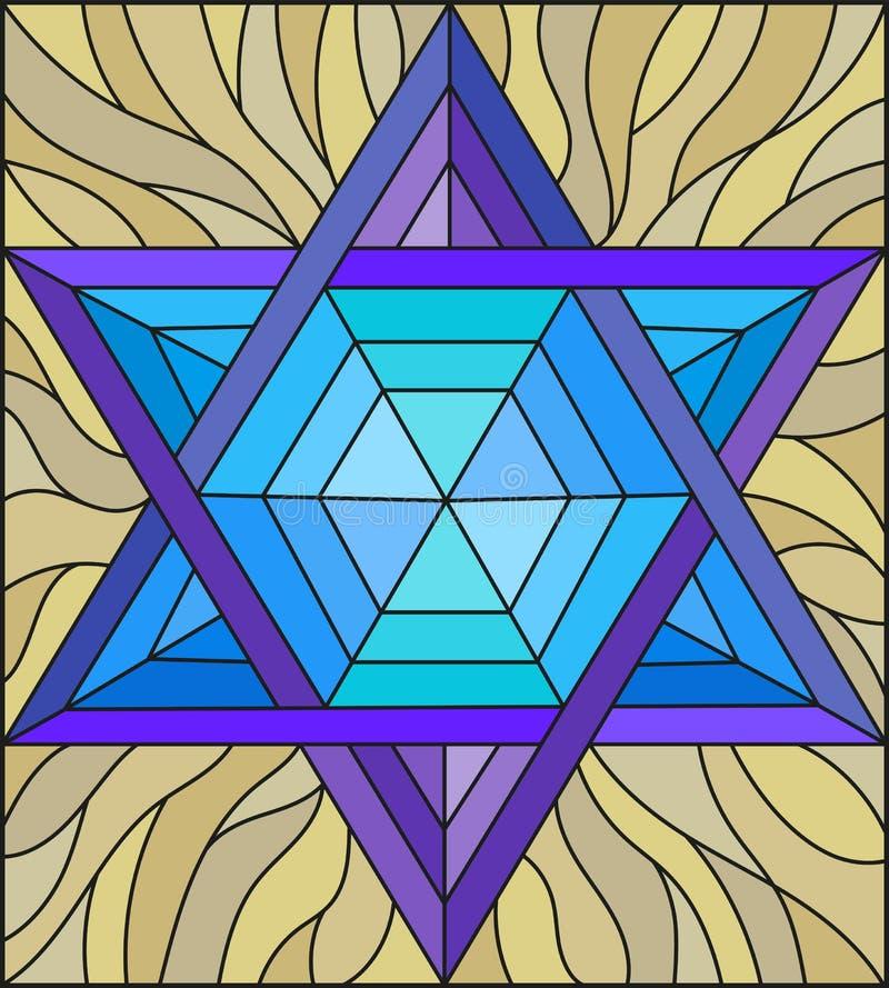 Witraż ilustracja z abstrakt wskazującą błękitną gwiazdą na brown tle ilustracja wektor