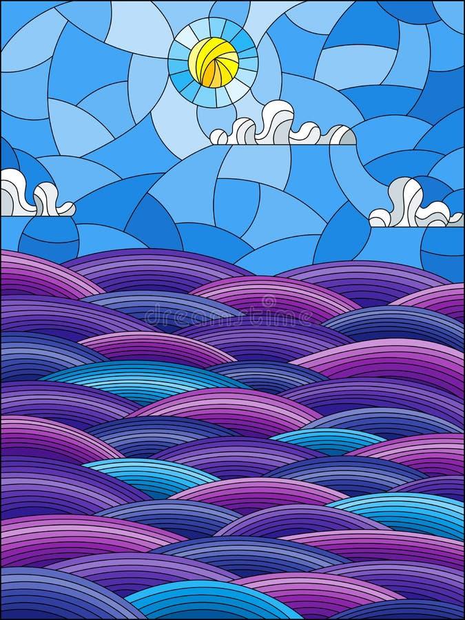 Witraż ilustracja z abstrakta krajobrazu morzem macha na tle Pogodny niebo i chmurnieje ilustracja wektor