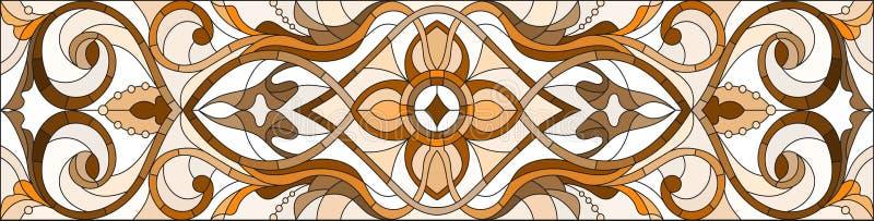 Witraż ilustracja z abstraktem wiruje i opuszcza na lekkim tle, horyzontalna orientacja, sepiowa ilustracji