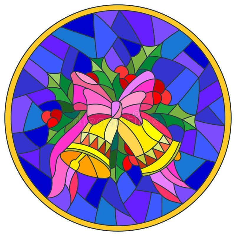 Witraż ilustracja z Bożenarodzeniowymi dzwonami w formie okręgu ilustracji