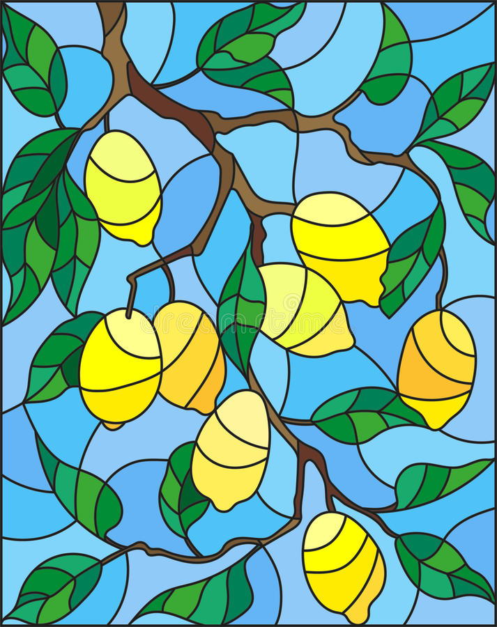 Witraż ilustracja z gałąź cytryny drzewo owoc rozgałęzia się i opuszcza przeciw niebu royalty ilustracja