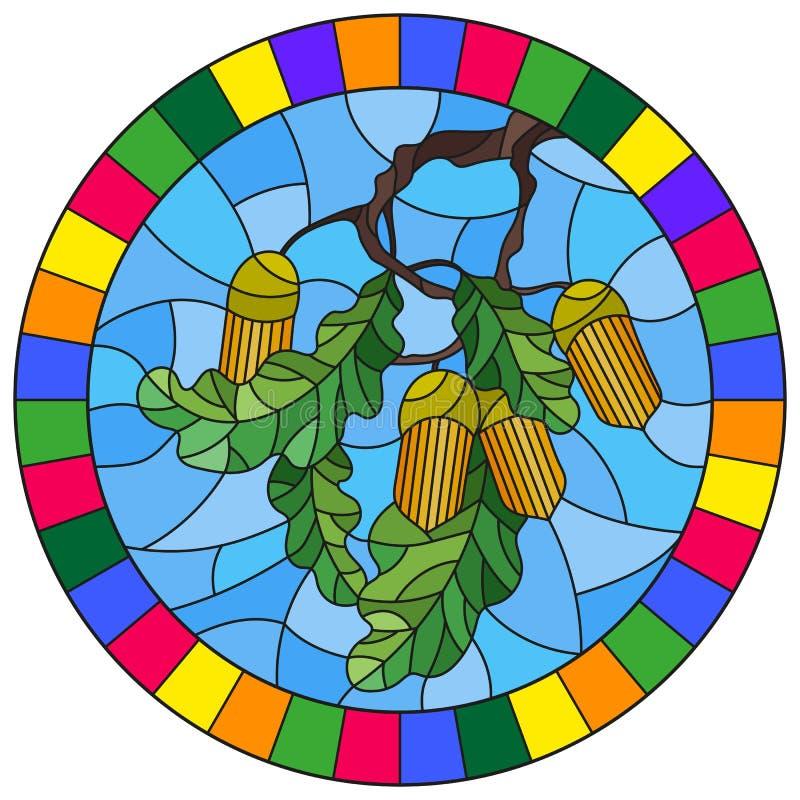 Witraż ilustracja z gałąź dębowy drzewo, acorns i liście na tle niebieskie niebo w jaskrawej ramie, roun ilustracji