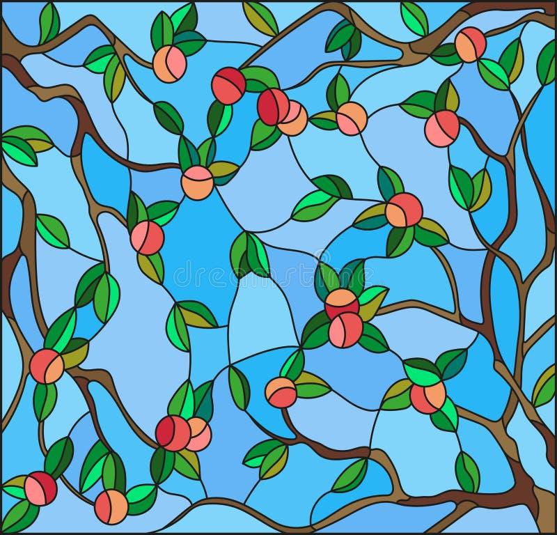 Witraż ilustracja z gałąź jabłonie owoc rozgałęzia się i opuszcza przeciw niebu ilustracji