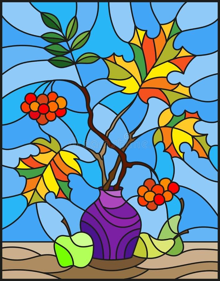 Witraż ilustracja z jesieni wciąż życiem, gałąź halny popiół ilustracji