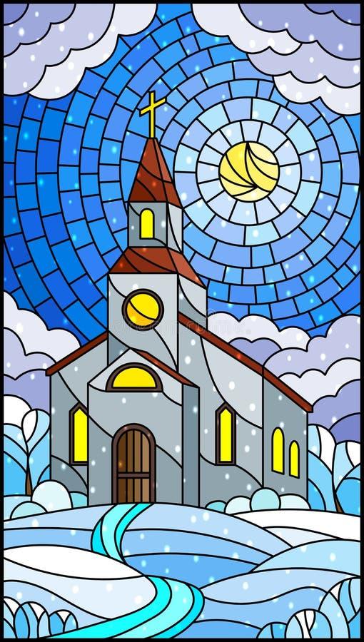 Witraż ilustracja z kościół na tle zima krajobraz, kościół na tle Pogodny niebo i śniegiem, ilustracji